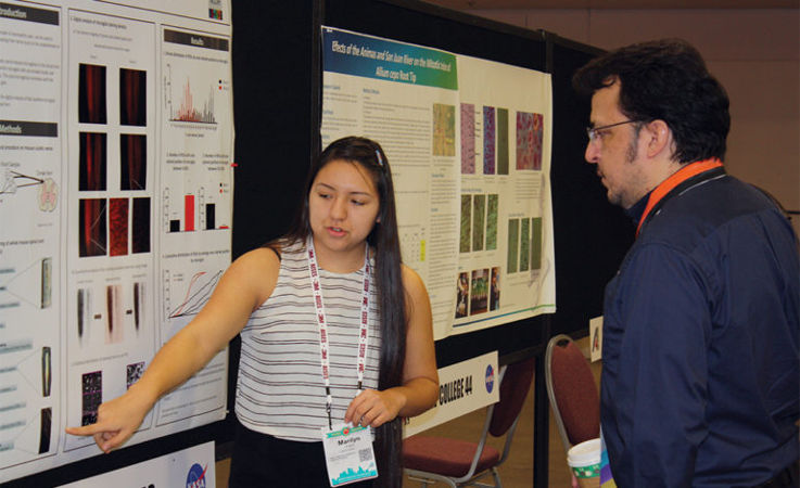 Marilyn Frank, a senior in NAHSP, presented her research on injured spinal cords at the AISES conference last November.